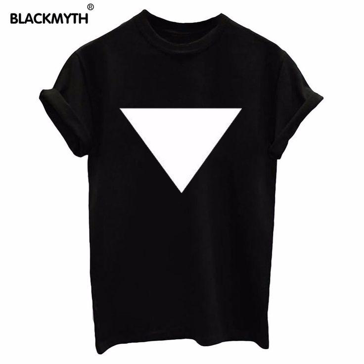 Женщины Новые Удобные Треугольник Печати Pattern Черный Белый Модные Короткие Рукава Топы Досуг Свободные Простой футболкикупить в магазине BLACKMYTH StoreнаAliExpress