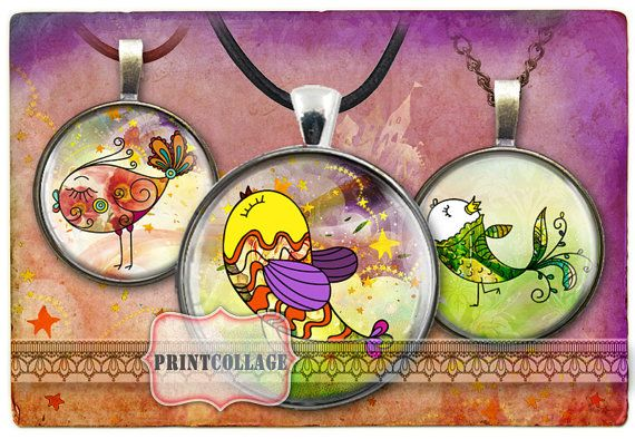 Cabochon images Digital Collage Sheet Doodle Birds by PrintCollage