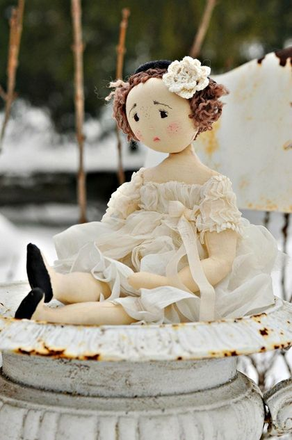Lune. Gorgeous dress. French fabric doll.