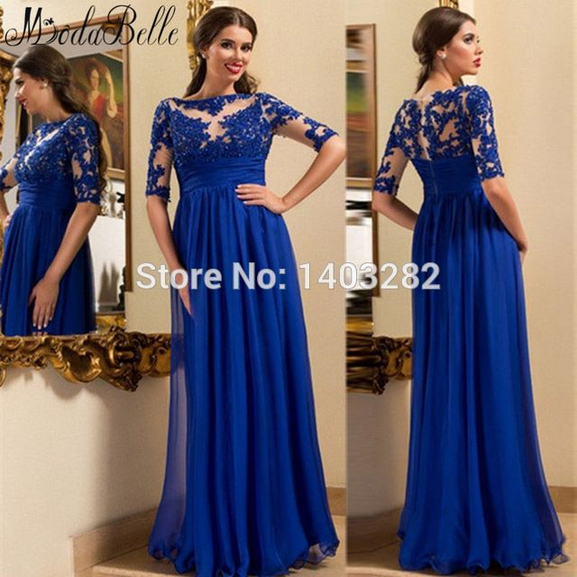 Royal Blue Half Sleeve Sexy Long Bridesmaid Dresses With Lace Chiffon Maid  Of Honor Wedding Party