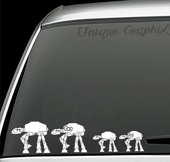 Star wars atat family vinyl decals window by uniquegraphix on etsy 2 25