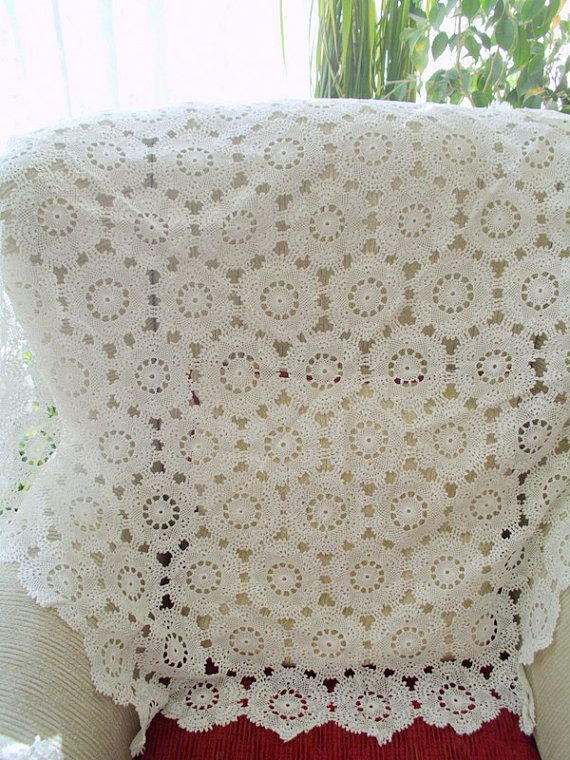 DİSCOUNT lace tablecloth vintage tablecloth white ...