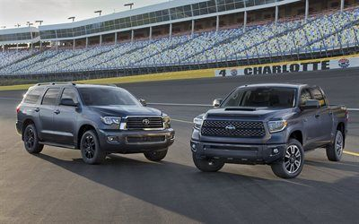 Download wallpapers Toyota Tundra TRD Sport, 2018 cars, Toyota Sequoia TRD Sport, SUVS, raceway, Toyota