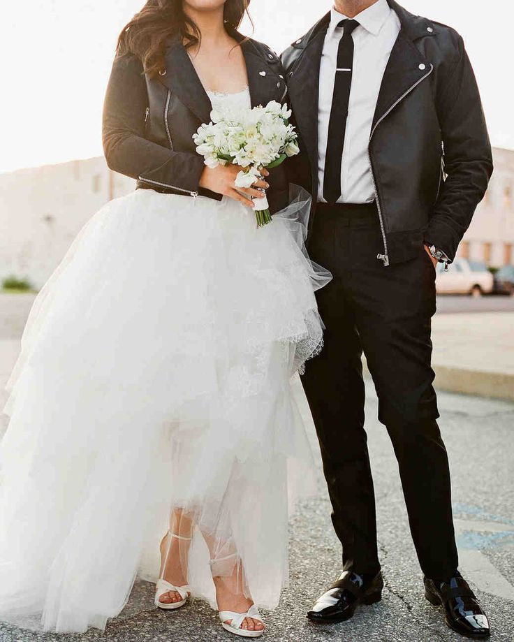 It Was Back-to-Back Weddings for This Couple in St. Louis | Martha Stewart Weddings - Chrissy, founder of the cruelty-free fashion line Fauxgerty, had his-and-hers faux-leather motorcycle jackets made to commemorate the wedding. The delicate all-white bouquet she carried on Friday included lilies of the valley, sweet peas, and freesia.