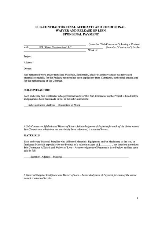 32 Subcontractor Lien Release Form In 2020 Templates Funny
