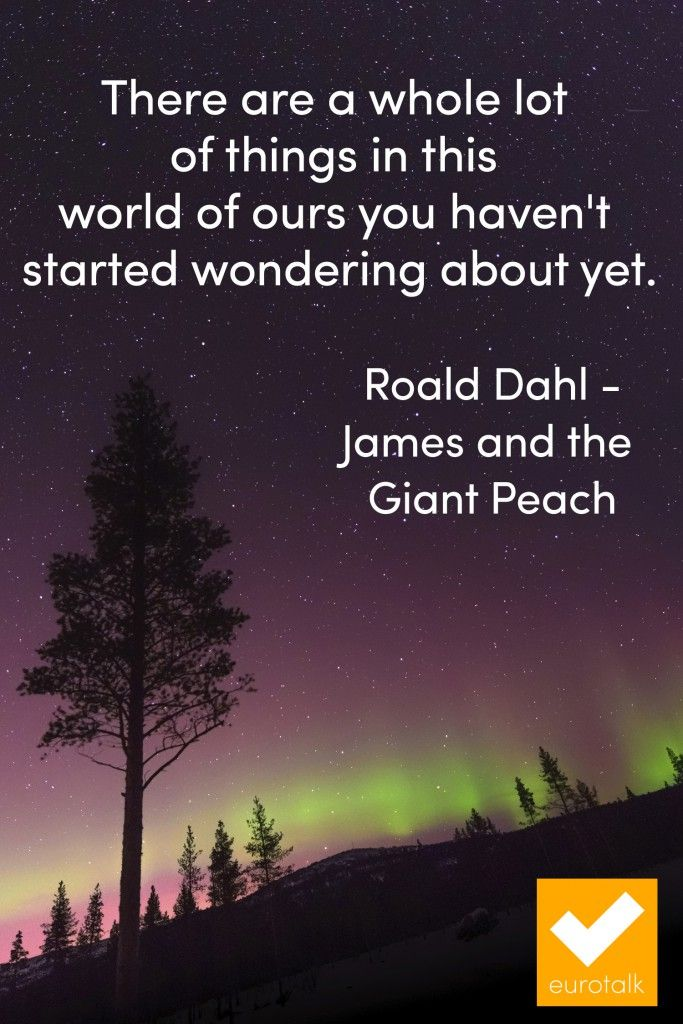 """There are a whole lot of things in this world of ours you haven't started wondering about yet."" Roald Dahl, James and the Giant Peach"