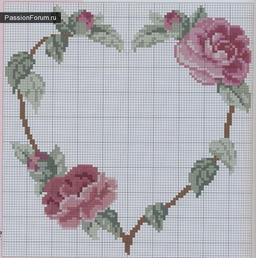 cross stitch roses heart