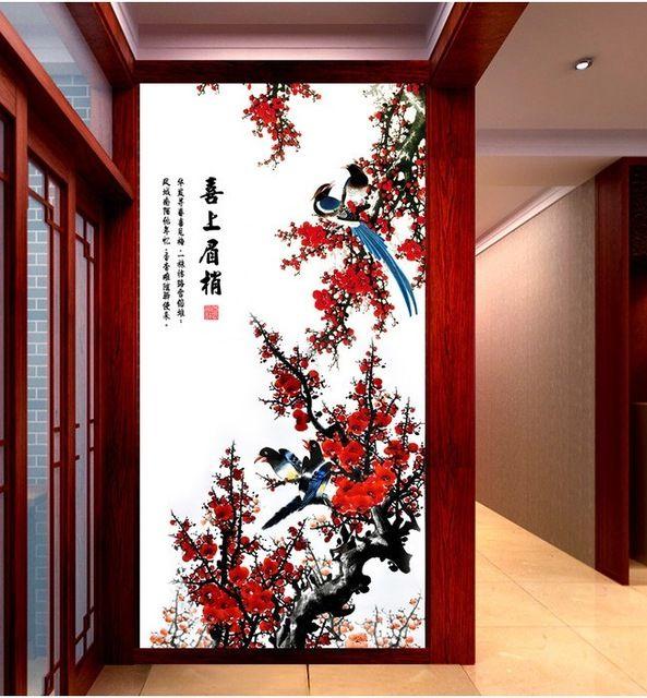 3d papel de parede personalizado mural papel de parede não-tecido adesivos de parede Xi mei ponta estilo Chinês tela da varanda fundo da foto papel de parede para paredes 3d