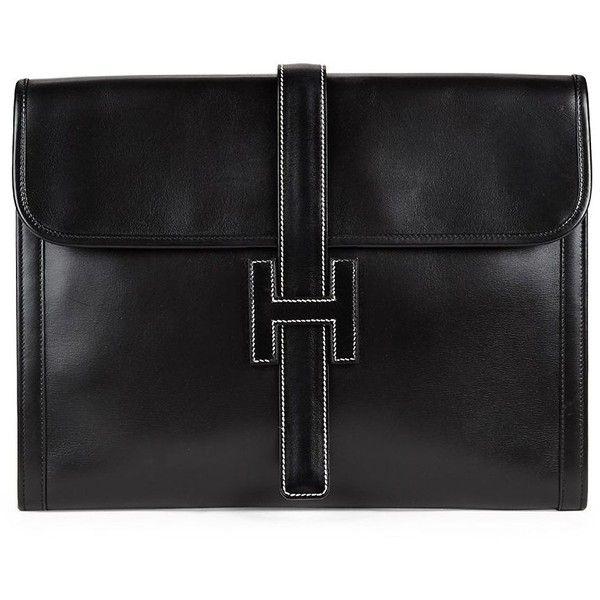 657eca51b HERMÈS Vintage Black Box Jige GM (213,985 INR) ❤ liked on Polyvore  featuring bags, handbags, clutches, genuine leather handbags, hermès,  vintage handbags, ...