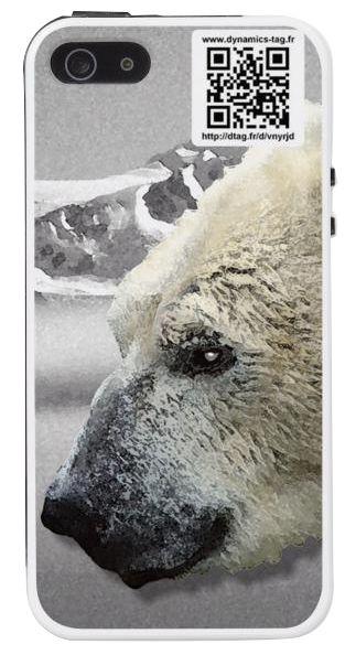 Coque de portable IPhone 5/5s associée à une carte de visite virtuelle via un qrcode : illustration : Ours blanc polaire