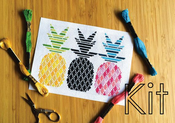 This original cross stitch kit has everything you need to create a beautiful, modern work of art. Electric Pineapples uses 11 beautifully bright summer colours and is designed with whole stitches only so its suitable for beginner stitchers. Perfect as a great little gift for someone crafty, or if you just want to try a fun cross stitch design without the fuss.  This kit comes beautifully packaged, and contains: - 25 x 25cm white Aida fabric - Pre-cut and sorted DMC cotton strands - Full-page…
