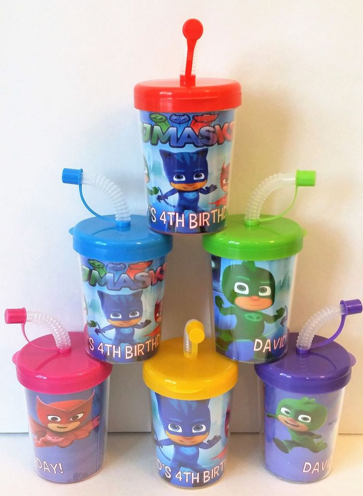 PJ Masks Party Favor Cups, PJ Masks Birthday Party Personalized Treat Cups Catboy, Owlette, Gekko, PJ Masks Party Cups Set of 6