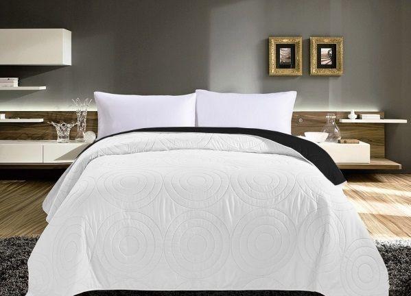 Bílý přehoz na manželskou postel oboustranný