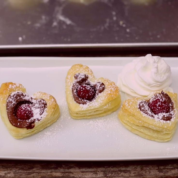 Sweet Nutella Heart Puffs topped with a Raspberry. Makes your heart go pitter patter.