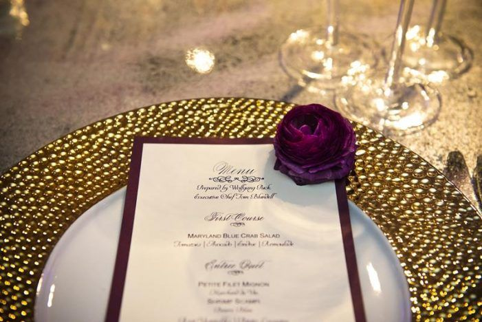 metallic gold charger plate, purple wedding menu from modern dc newseum wedding by Bellwether Events and Holly Chapple Flowers