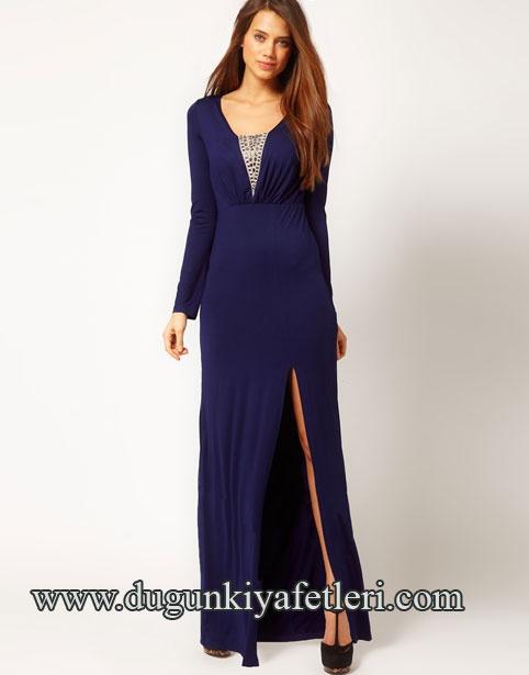 yırtmaçlı uzun mavi düğün elbisesi