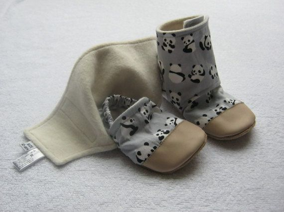 Stay-On Baby and Toddler Bootie Slippers Panda Print