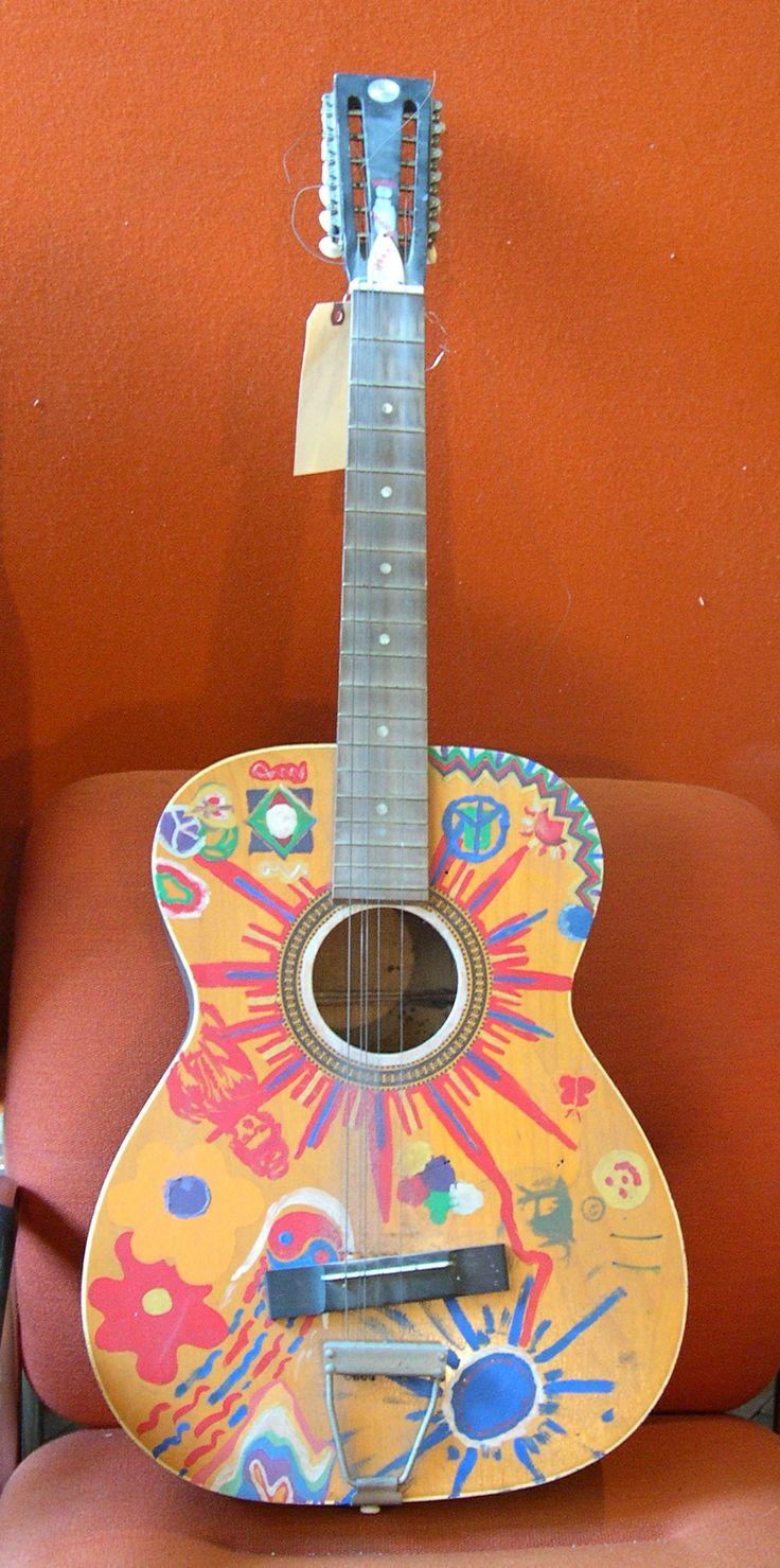 Handpainted Quot Hippie Quot Guitar Misc Decor Pinterest