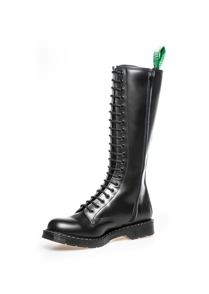Classic 20 Eye Zipper Derby Boot In Black Solovair Classic