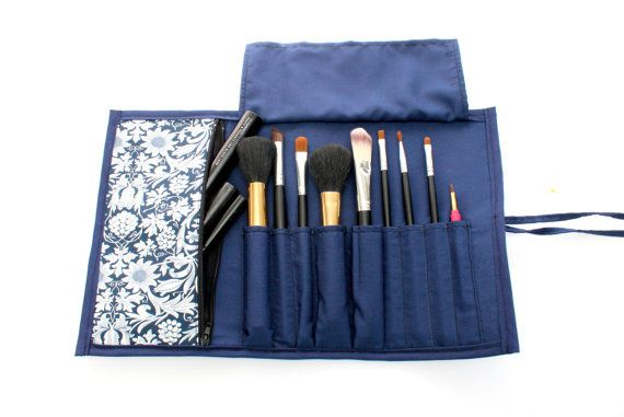 Cute Floral Brush Roll With Zippered Pocket.