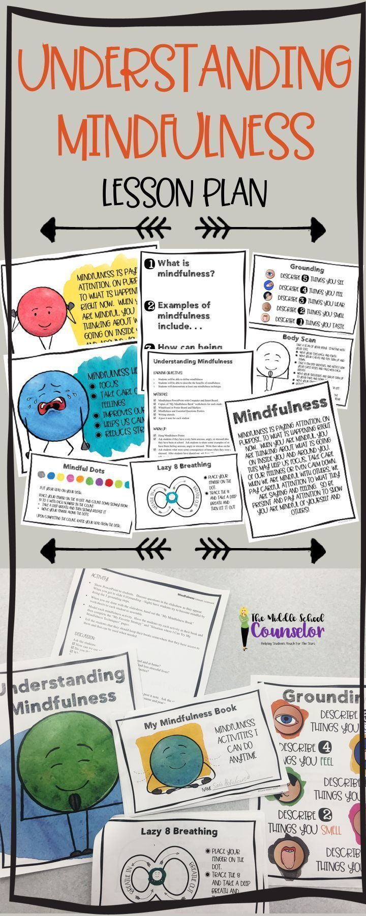 Understanding Mindfulness.  Lesson plan with PowerPoint presentation, strategy booklet for students and classroom posters.