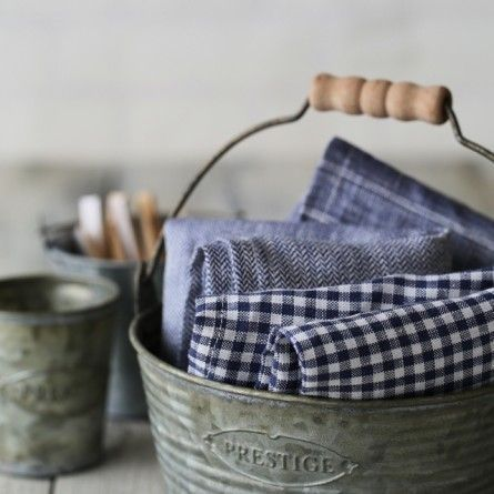 Blue & White Tea Towels in a Tin Bucket with a Wooden Handle ....