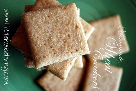 Homemade Wheat Thins      1 1/2 c. wheat flour      4 T. butter (softened or melted)      1 1/2 T Sugar      1/2 t. salt + some for sprinkling      1/4 c. water (more or less)