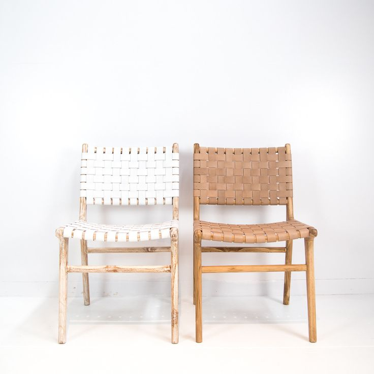 a teak wood frame forms the base of this chair finished to reveal the natural grain of the wood leather in a slightly dark tan shade is expertly weaved