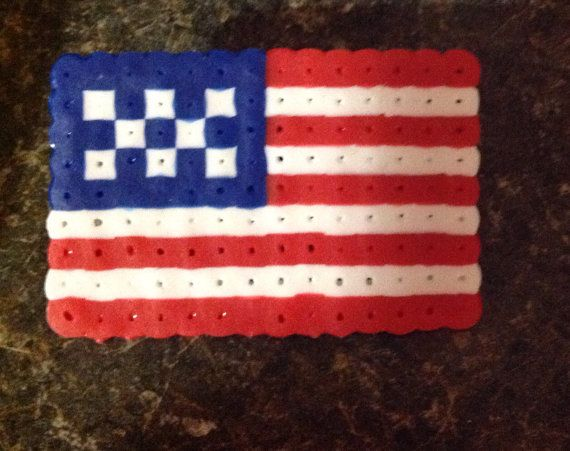 American Flag Perler Bead Pin On Etsy 3 00 My Products