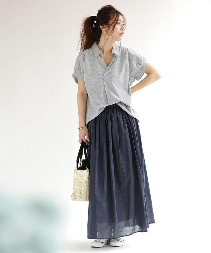 抜け感のあるスキッパーシャツは一着持っておくべき!40代アラフォー女性のスキッパーシャツのコーデ♪