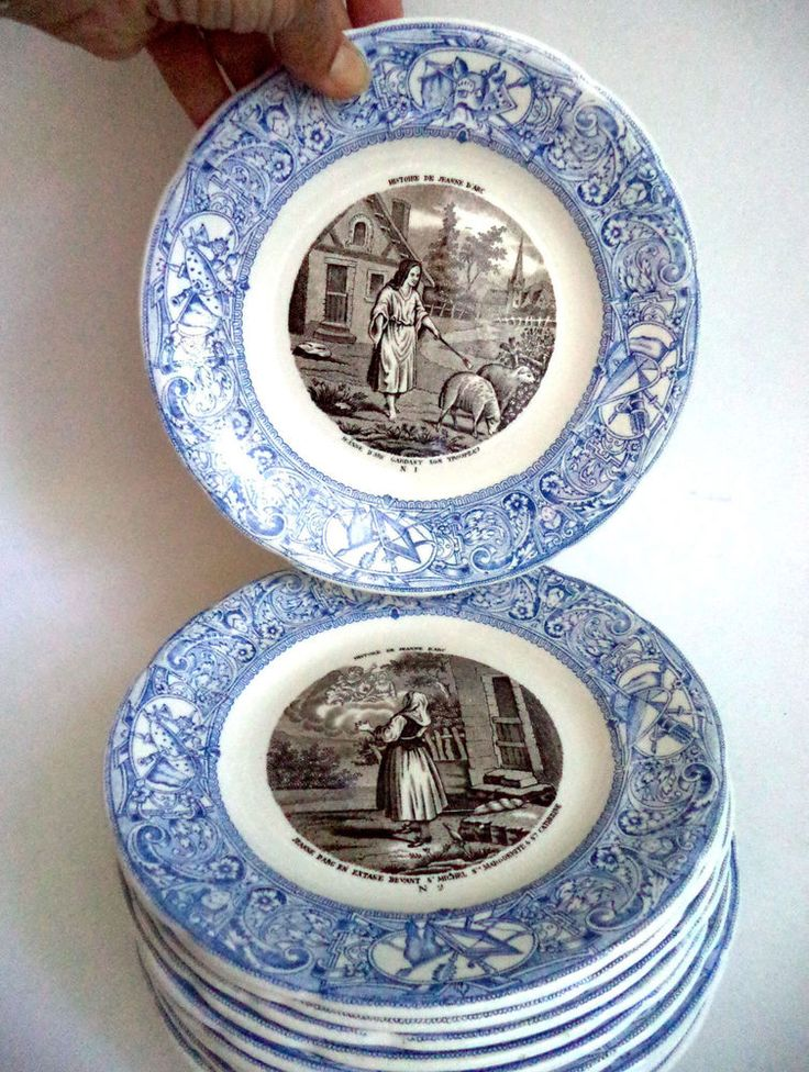 Rare Complete Set Gien France Joan of Arc Blue White Transferware Plates Faience | eBay