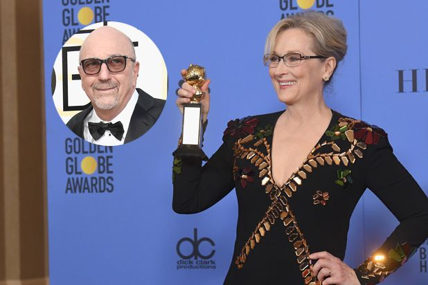 """""""You're a class act, in and out of character,"""" HFPA president Lorenzo Soria tells Meryl Streep"""