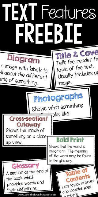 Text Feature Definition Freebies