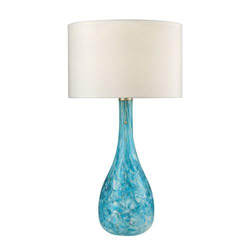 Mediterranean Blown Glass Table Lamp in Seafoam - D2691