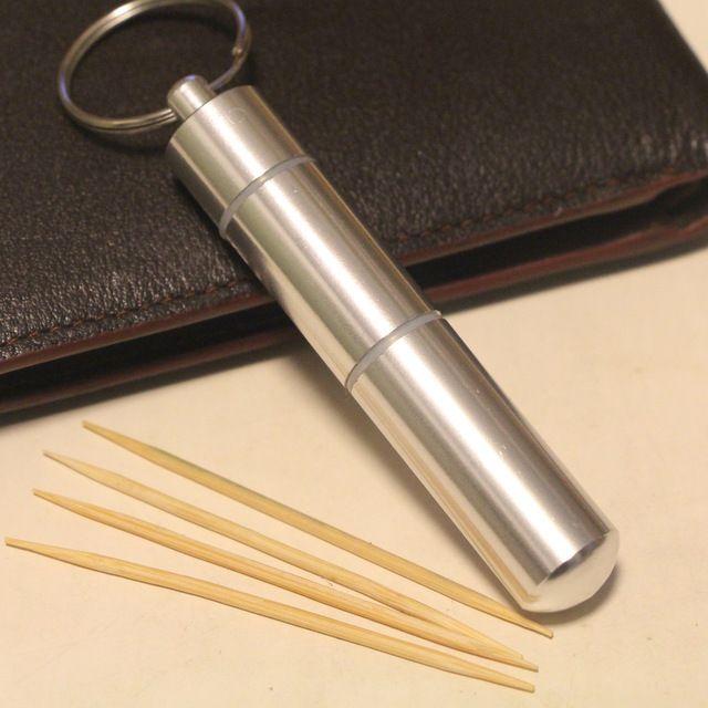 Mini portable toothpick case aluminum alloy fashion gift brief style outside sport key chain utility storage box gadget