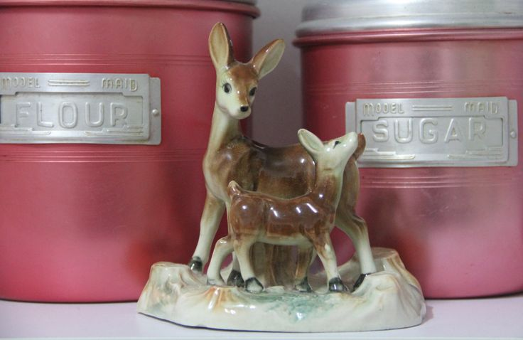 Vintage 1950's beautiful Kitsch Bambi Japan Deer Figurine, Miniature Deer Porcelain Figure, Deer Mother and Baby Fawn by VintageCollateral on Etsy