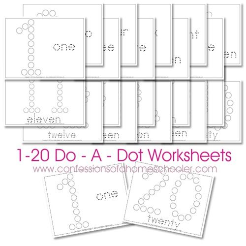 Free 1-20 Do-A-Dot Number Printable Worksheets