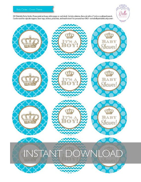 Cupcake Toppers Baby Shower Crown Theme Diy By