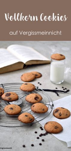 Leckere Vollkorn Cookies mit Schokolade. Das Rezept für die American Cookies ist sehr einfach. Passend zu einem Kaffee oder Milch.