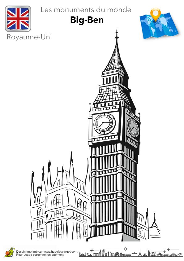 Coloriage Royaume Uni Big Ben Sur Hugolescargot Com Hugolescargot Com