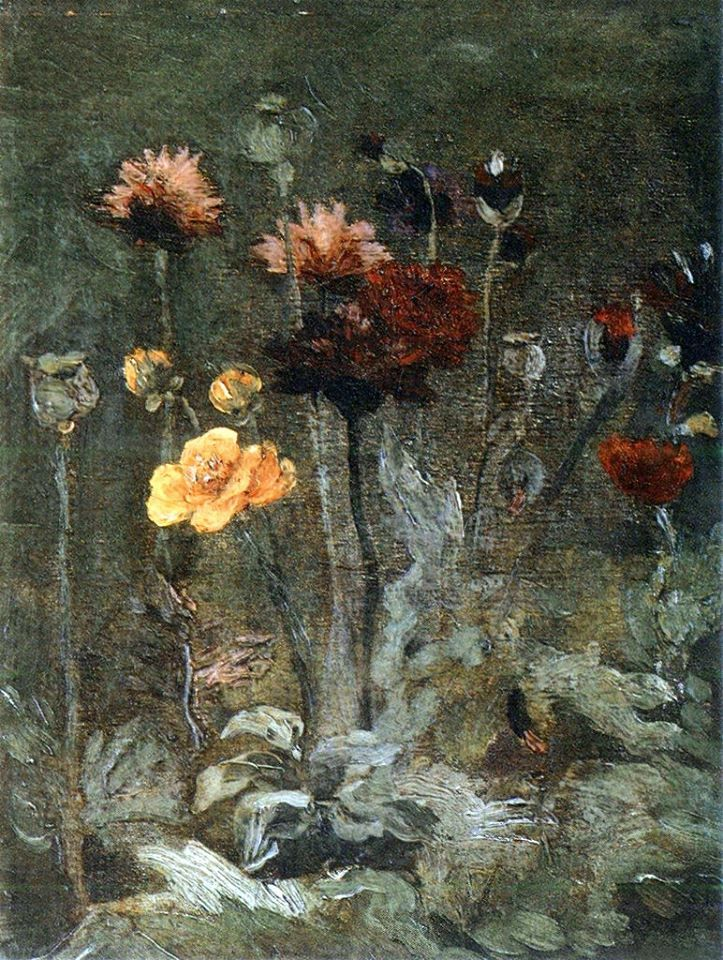 Art of the Day: Van Gogh, Still Life with Scabiosa and Ranunculus, Spring 1886. Oil on canvas, 26 x 20 cm. Takahata Art Gallery, Osaka, Japan.