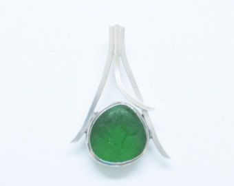 Sea Glass Jewelry Sterling Caged Green Sea Glass by SignetureLine