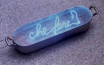 Mario Merz, CHE FARE? (What is to be done?) 1968 wax, neon, metal Musée Départemental d'art ancien et contemporain, Épinal, France