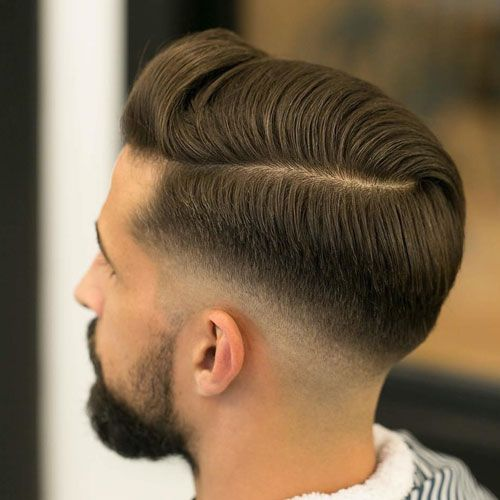 Low Fade with Hard Side Part