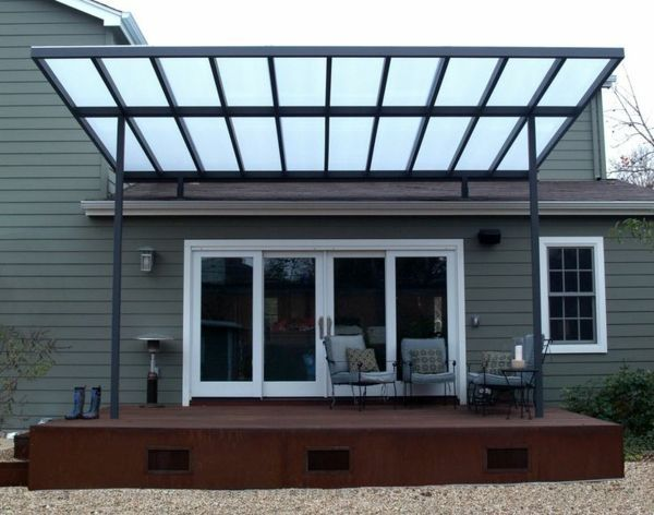 metal pergola polygal attached - Google Search