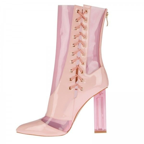 Rhianne Lace Up Ankle Boots In Pink Perspex ($53) ❤ liked on Polyvore featuring shoes, boots, ankle booties, lace up bootie, lace-up ankle booties, laced booties, pink lace up booties and bootie boots