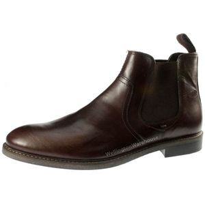 Red Tape Newton Leather chelsea dealer pull on mens boots  Elasticated gussett (Brown)