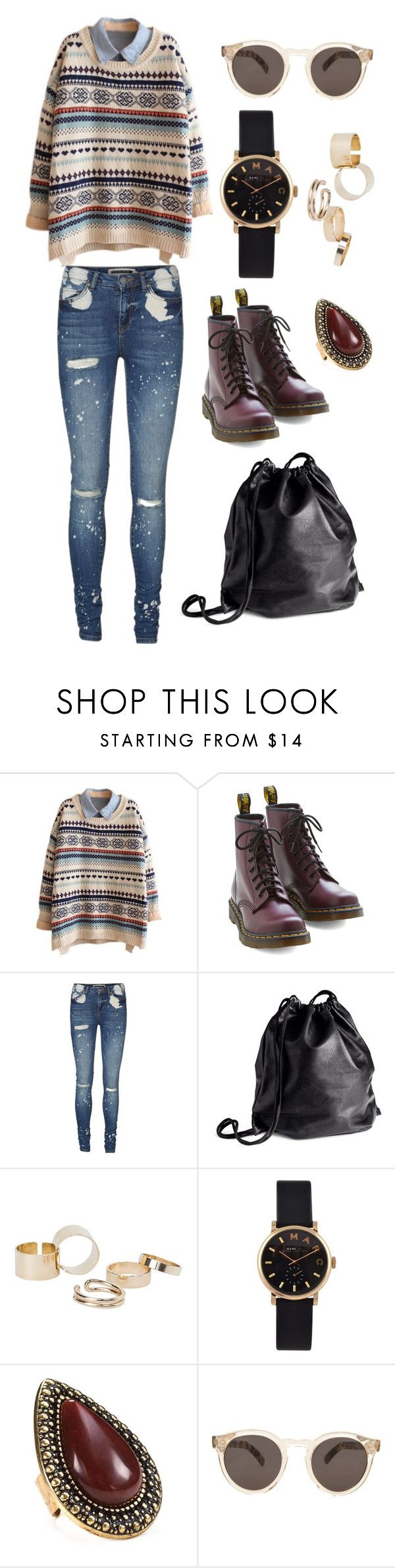 """""""Geek mode on"""" by liquidvisions ❤ liked on Polyvore featuring Dr. Martens, Vero Moda, H&M, MANGO, Marc by Marc Jacobs, Samantha Wills, Illesteva, women's clothing, women and female"""