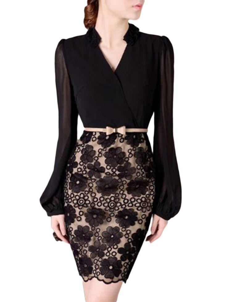 Trabalhar elegante chiffon preto patchwork crochet v pescoço mulheres na altura do joelho vestido