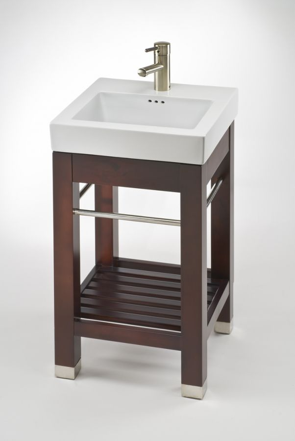 Complete an open-space design with this console bathroom vanity. Efficient design provides a large, square sink with shelf space for linens or baskets. Chrome bars offer a modern look or a place to hang towels. Unit requires some assembly, but offers an easy and classy look for small bathrooms.